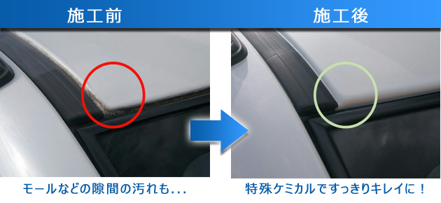 隙間の汚れも洗車ですっきり落とした写真