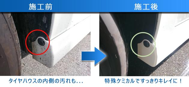 タイヤハウスの汚れも洗車ですっきり落とした写真
